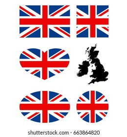 vector illustration of Great Britain flag and map