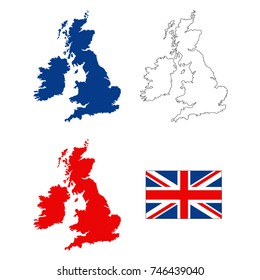 vector illustration of Great Britain map and flag