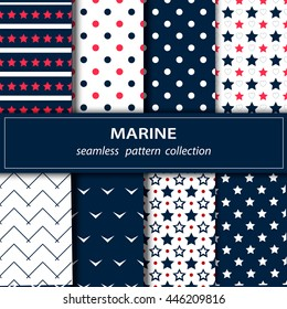 Vector illustration. Great independence Day! The 4th of July. Set American backgrounds. Collection of seamless patterns in red, blue and white colors. Stars, stripes, zigzags.
