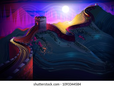 vector illustration of The Great Wall of China world famous historical monument