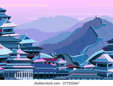 vector illustration of Great wall of China with buildings