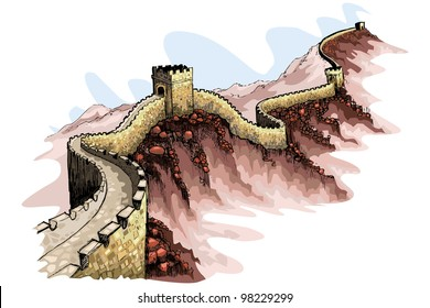 vector illustration of the Great wall of China against abstract background