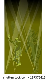 Vector illustration of Great War soldiers caught in a gas attack