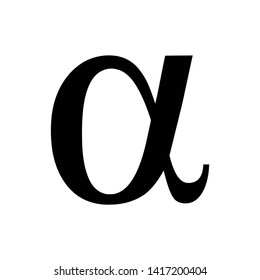 Vector illustration of the greek Alpha letter. Black icon isolated on white background
