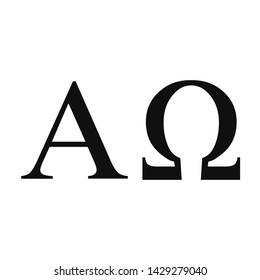 Vector illustration of the greek Alpha and Omega letters. Black icons isolated on white background