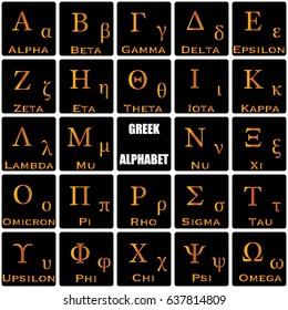 Vector illustration of Greek Alphabet. The gold letters on black background