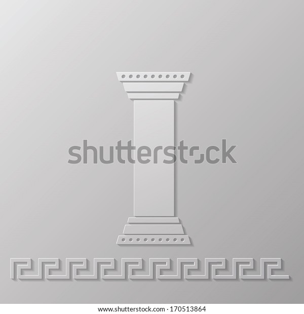 Vector Illustration with Greek Column for Your Design. Old Stone Pillar Icon Isolated on Grey Background. Greek Traditional Ornament