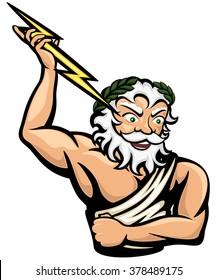 Vector illustration of the Greek god Zeus (or Jupiter, his Roman counterpart).