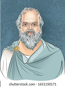 Vector illustration of Greek philosopher Socrates in cartoon style.  He was a classical Greek (Athenian) philosopher and he is considered as the father of Western Philosophy.