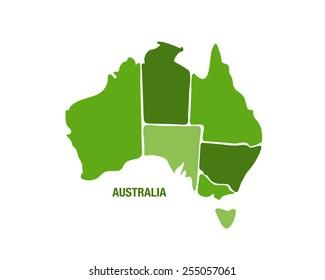 vector illustration of a green australia map