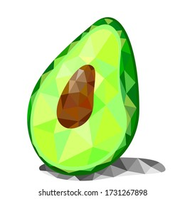 Vector illustration of green avocado in low poly, polygonal style, geometric figures.