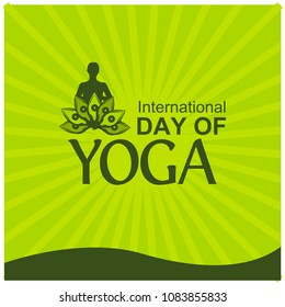 Vector illustration green background for celebrating International Yoga Day  of June 2. Designs for posters, backgrounds, cards, banners, stickers, etc
