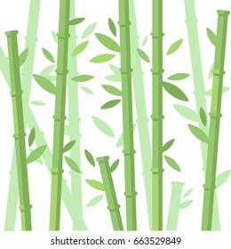 Vector illustration of green bamboo trees background. Bamboo stems with leaves on white background. Flat vector illustration.