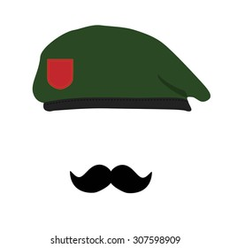 Vector illustration  green beret of Army Special Forces with empty emblem and black mustache. Revolutionary beret. Military beret with moustache