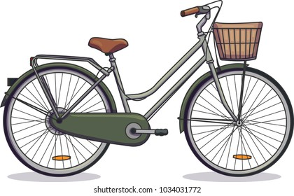 Vector illustration of a green bicycle. Bike with a basket.