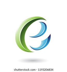 Vector Illustration of Green and Blue Glossy Crescent Shape Letter E isolated on a White Background