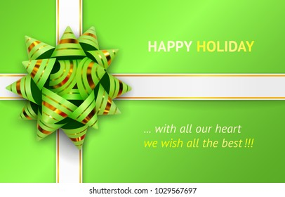 Vector illustration of green bow and white ribbons with gold stripes for packing gifts, isolated on green background. Happy holiday greeting card. Realistic 3d object. Element for design