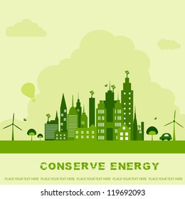vector illustration of green building with windmill for ecological concept