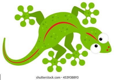vector illustration of a green cartoon lizard