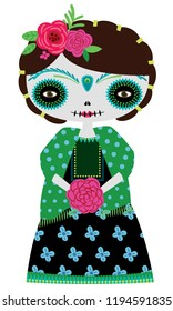 Vector illustration of green catrina doll on a white background. Celebrating the day of the dead and Halloween. Use in scrapbooking, crafts, fabric, wallpaper