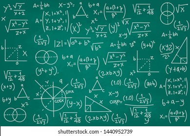 Vector illustration of green chalkboard with math signs.