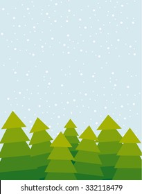 Vector illustration of the green Christmas trees on the snowy day. Big copy space on the top of the image. Snow falling in the background.
