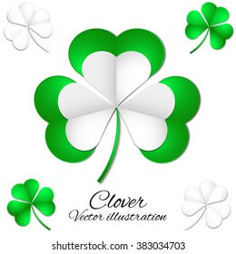 vector illustration of green clover picture postcard