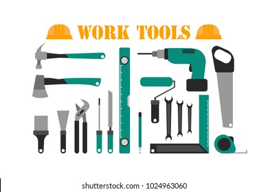 Vector illustration of green colored different work and maintenance instruments on white background. Eps