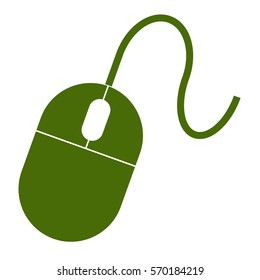 Vector Illustration of Green Computer Mouse Icon