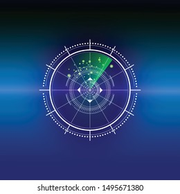 Vector Illustration of green digital radar screen over grid lines. Abstract elements with technology shapes white, line, circle, dot, ring, square on dark blue background.