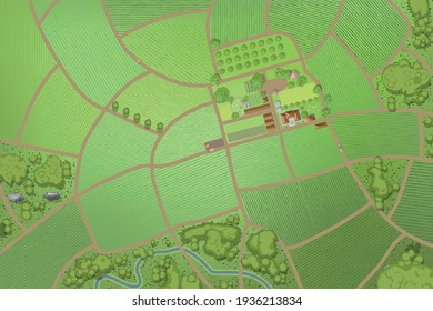 Vector illustration. Green farm in the landscape. (top view)
