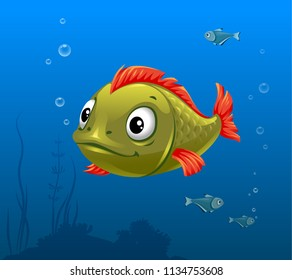 vector illustration of green fish, green fish with red fins, funny fish, big eyes, ocean, sea, marine, tropical, seabed, underwater world,
