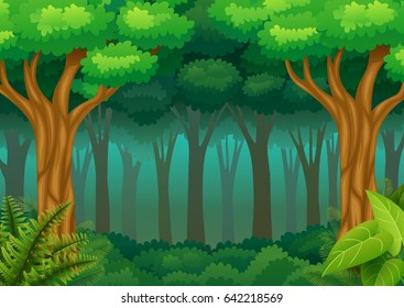 Vector illustration of Green forest background