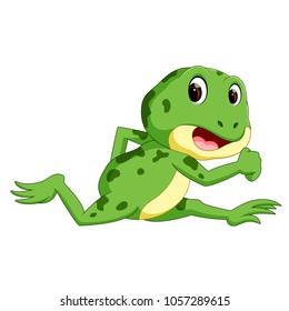vector illustration of Green frog with happy smile