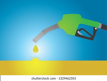 Vector illustration, The Green Fuel Nozzle drop the yellow biodiesel oil into the golden oil well on blue background with cut out paper illustration style.