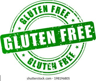 Vector illustration of green gluten free stamp on white background