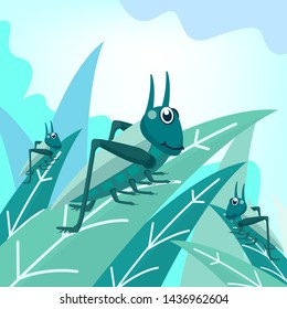 Vector illustration of green grasshoppers leaves on the leaves with a bright sky background. Insect cute vector illustration