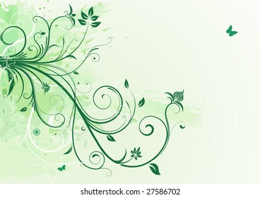 Vector illustration of green Grunge Floral Background