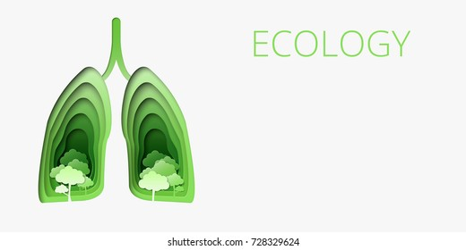 Vector illustration of green healthy lungs with trees in paper art style.
