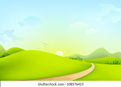 vector illustration of green landscape of sunny morning