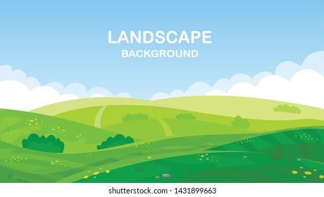 Vector illustration of green landscape of sunny morning .