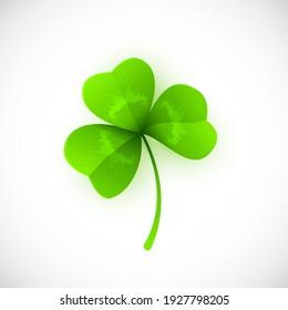 Vector Illustration of Green Leaf Clover Isolated on White Background. St. Patricks Day Symbol.