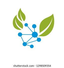 Vector illustration of green leaves and molecule mesh structure. Alternative medicine concept, phytotherapy metaphor .The interconnection of chemical analysis and homeopathy.