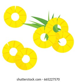 Vector illustration green leaves and three round pineapple slices icon isolated on white background. Summer tropical fruit set, collection