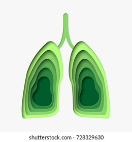 Vector illustration of green lungs in paper art style.