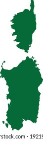 vector illustration of Green map of Sardinia and Corsica