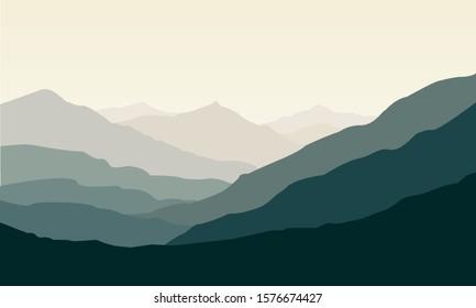 Vector illustration green mountain landscape.
