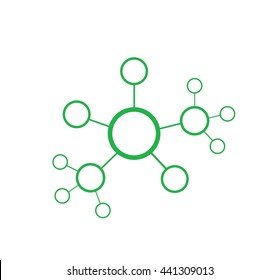 Vector illustration of green network abstract sctructure. Line conection between cells.