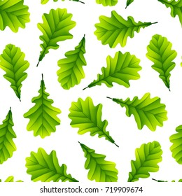 Vector illustration of Green oak leaves isolated on white background