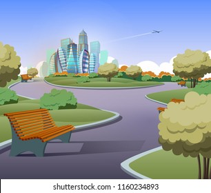 Vector illustration of green parkland with trees, bushes in cartoon style. Lawn with benches and modern buildings on background. Architecture, cityscape concept